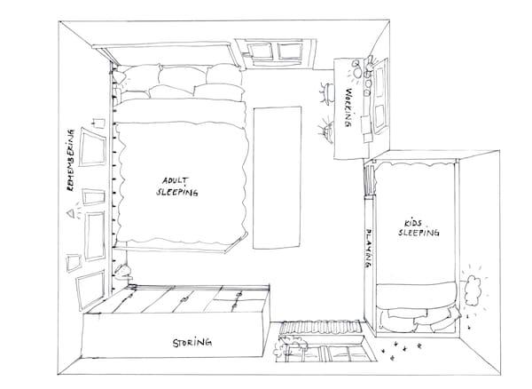 Un\'unica camera da letto per genitori e bambini - IKEA