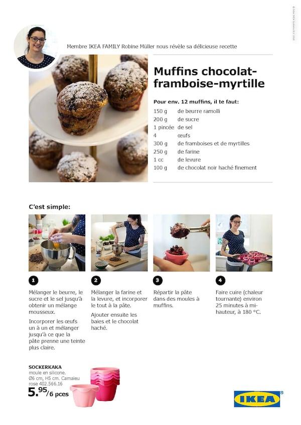 La recette muffins choclat-framboise-myrtille