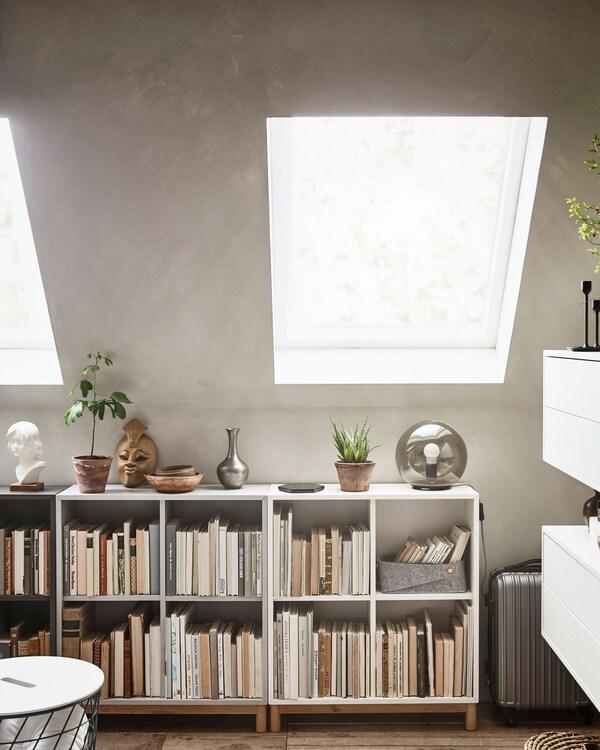 Låga hyllor fyllda med böcker och prydnadssaker och växter ovanpå.