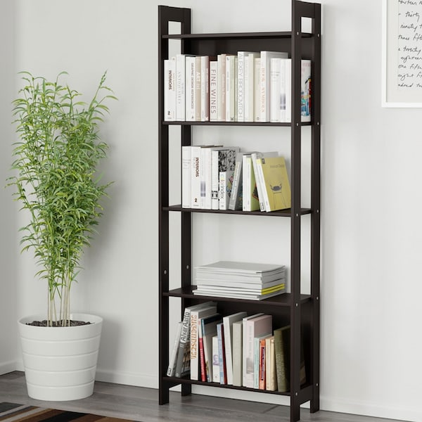 LAIVA black-brown bookcase filled with books