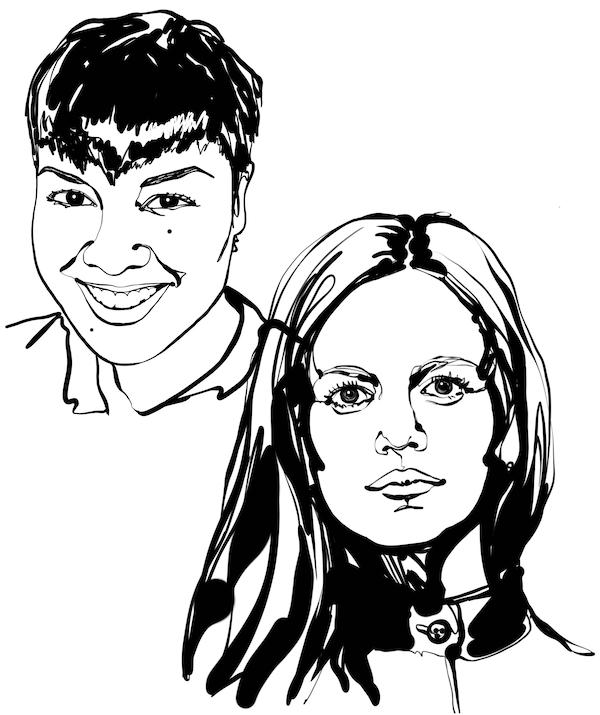 Lakaran wajah hitam putih dua pereka hiasan dalaman yang disebut dalam teks, Kristin Perez dan Kristina Pospelova.