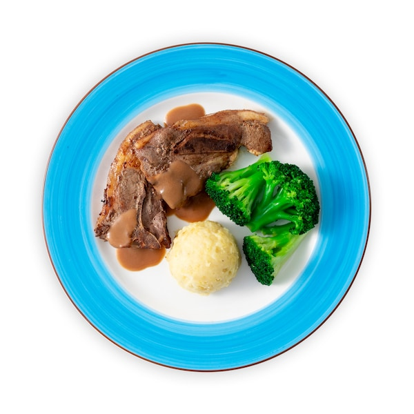 Lamb chop and mashed potato with brown sauce