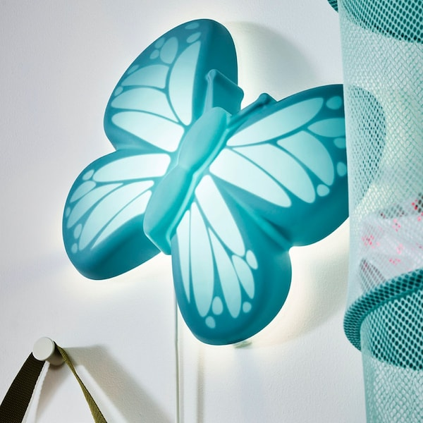 Lampa ścienna UPPLYST LED, motyl jasnoniebieski