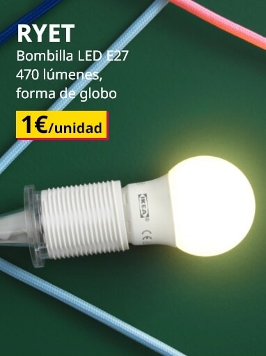 Lámpada. Bombilla LED E27. 470 lúmenes, forma de globo 1€/unidade