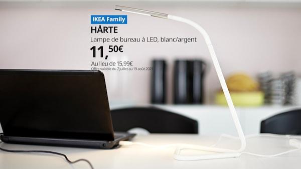 lampe de bureau à led blanche et argent