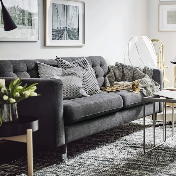 LANDSKRONA 3 seat sofa in dark grey