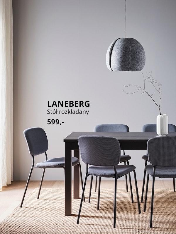 LANEBERG Stół rozkładany, brązowy, 130/190x80 cm