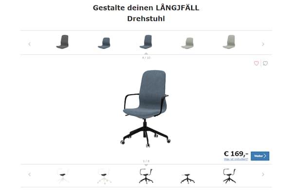 LÅNGFJÄLL Bürostuhl-Konfigurator für die Gestaltung deines individuellen Schreibtischsessels
