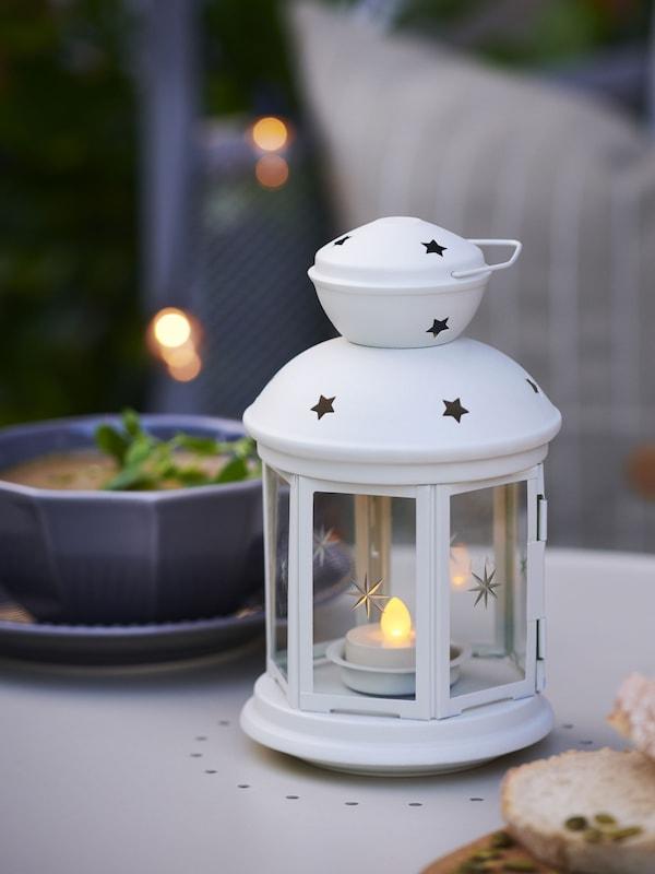 """Lanterne, blanc intérieur/extérieur blanc8 ¼ """" (21 cm)"""