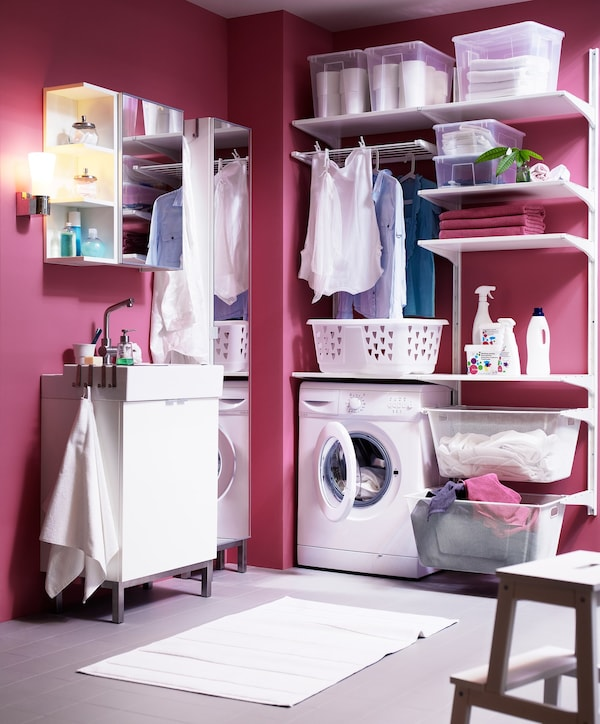 laundry room ALGOT IKEA pink wall