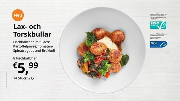 Lax- och Torskbullar - Fischbällchen mit Lachs, Kartoffelpüree, Tomaten-Spinatragout und Brokkoli