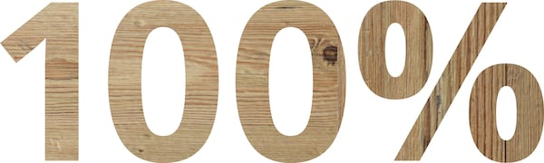 Le chiffre 100% dans une police effet bois.