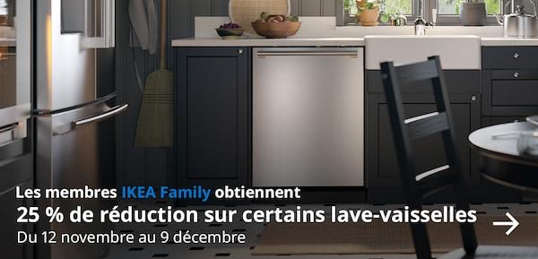 Le membres IKEA Family obtiennent 25 % de réduction sur certains lave-vaisselles du 12 novembre au 9 décembre