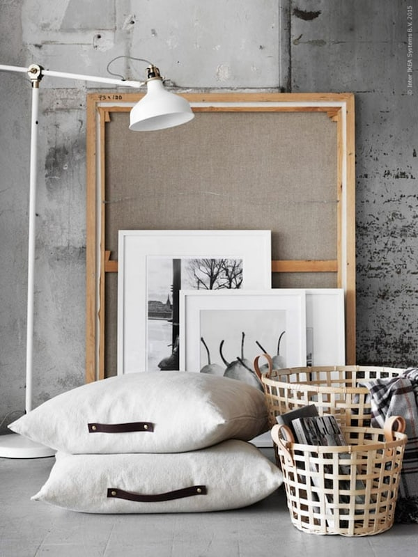 Leather details — cushions — baskets — RANARP standing reading lamp — IKEA interior inspiration