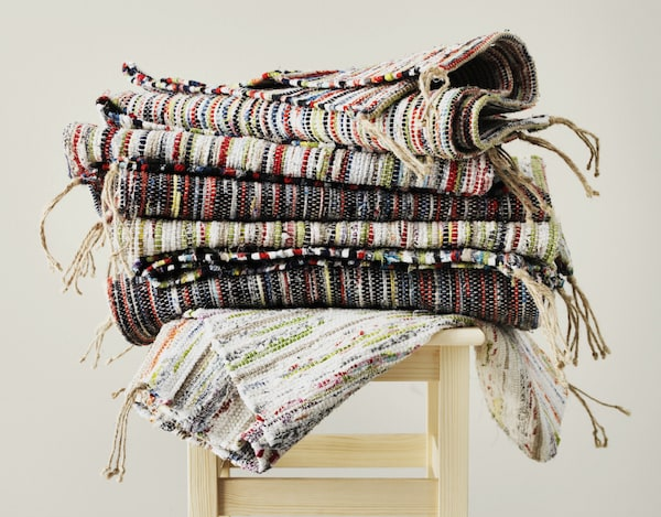 Leftover fabric from our bed linen production becomes beautiful multicoloured IKEA TÅNUM rugs. Creating from what we already have is a hot topic when we design new products and helps us be more sustainable.