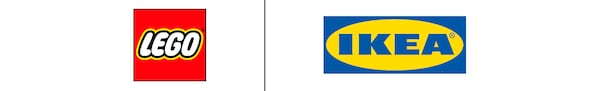 LEGO-logo ja IKEA-logo näkyvät vierekkäin mustalla viivalla erotettuna.