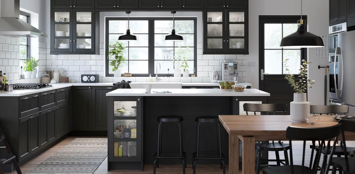 Black Ikea Kitchen Cabinets