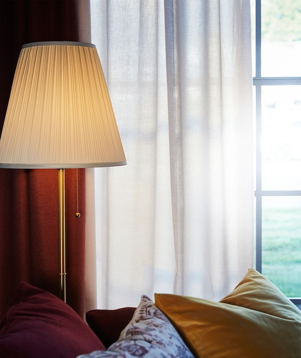 Let a little sunshine in with a pair of white TIBAST 100% more sustainable cotton curtains.