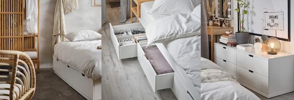 Lichtdurchflutetes Schlafzimmer mit weißen Möbeln: DELAKTIG Bett mit KNIXHULT Lampen