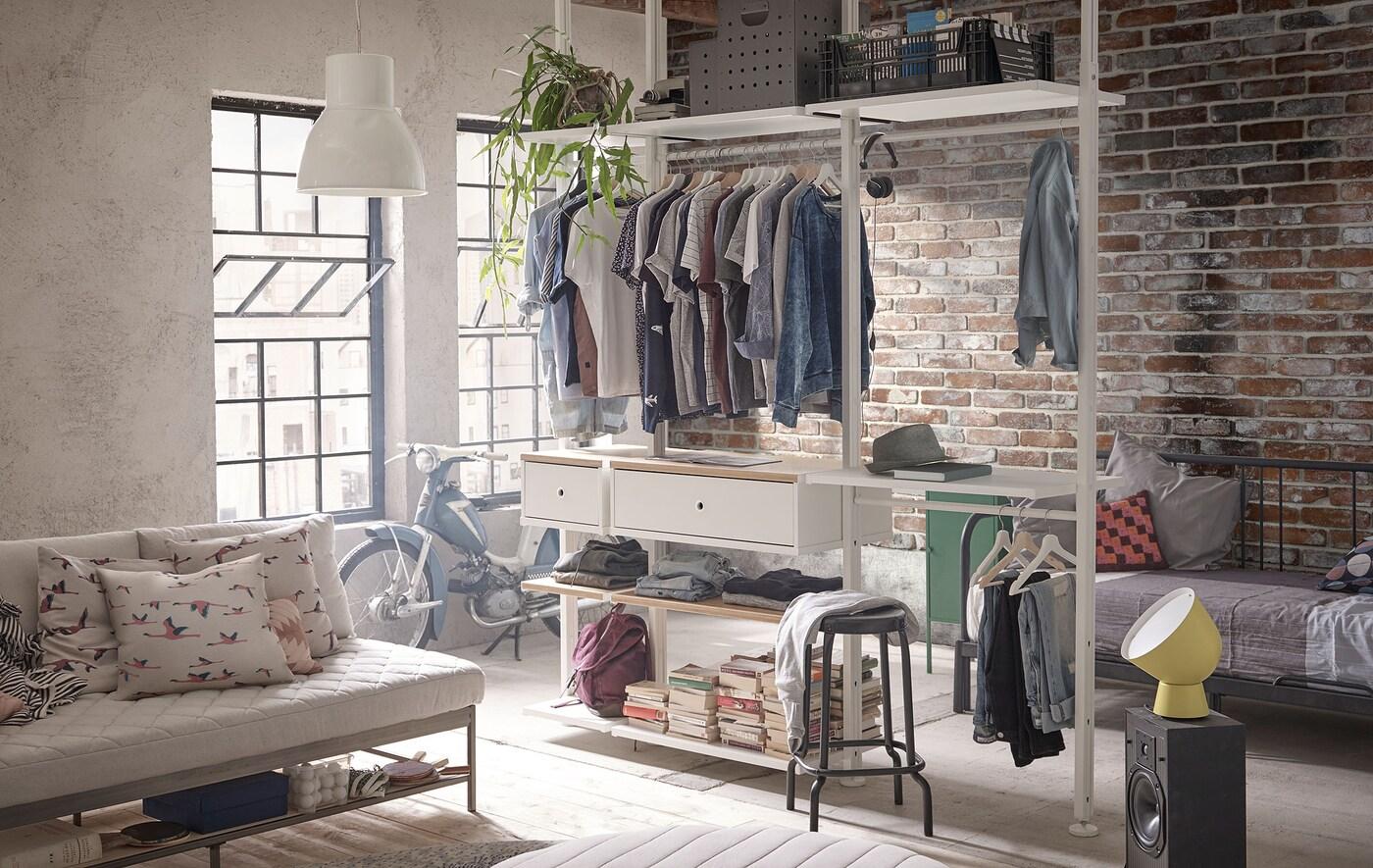 Lien vers le blogue d'IDÉES 'Faites de votre nouvelle maison un foyer' - image d'un rangement modulaire ELVARLI.