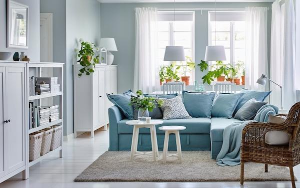Light blue corner sofa bed HOLMSUND