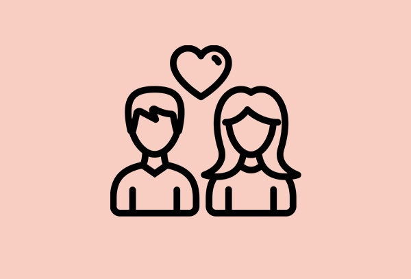 light pink colour image with 2 humans and a heart icons to show caring for coworkers from IKEA during COVID-19