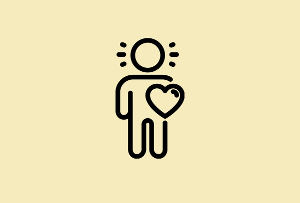 light yellow colour image with 1 human and a heart icons to show caring for customer from IKEA during COVID-19