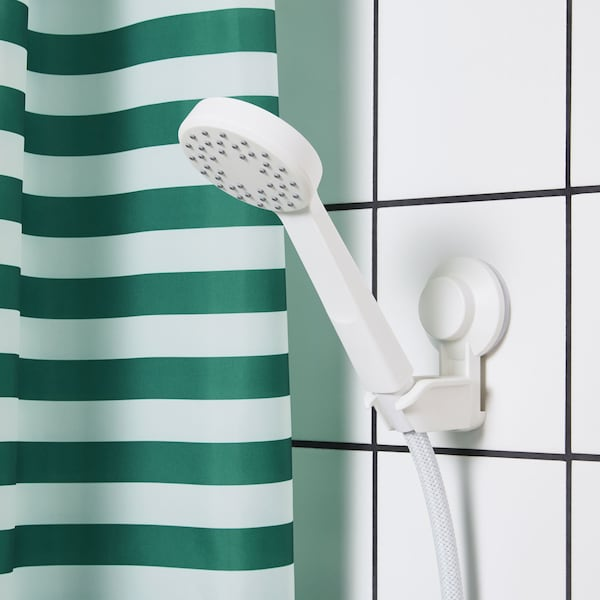 LILLREVET hand held shower head and hose with green and white striped shower curtain