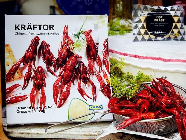 Limited time offer in the Swedish Food Market: KRÄFTOR frozen crayfish in dill brine. Now $19.99, regular $24.99.