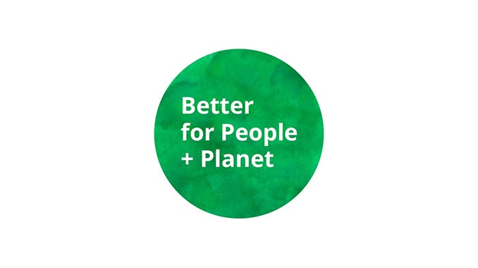 Link to 'Our best products for a more sustainable life at home' - image of green circular logo reading 'Better for People + Planet'.