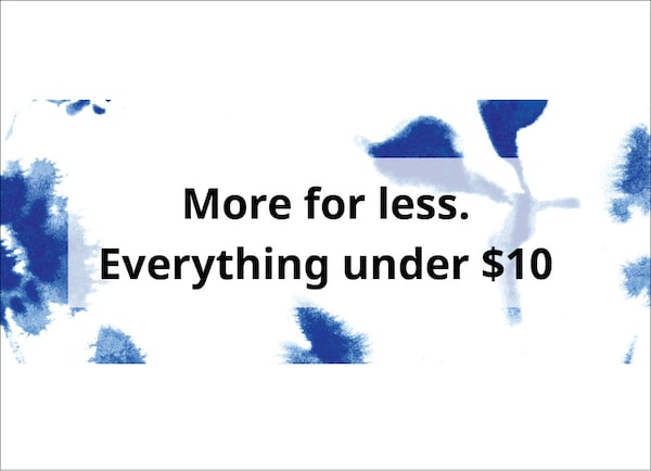 Link to shop 'More for less. Everything under $10.'