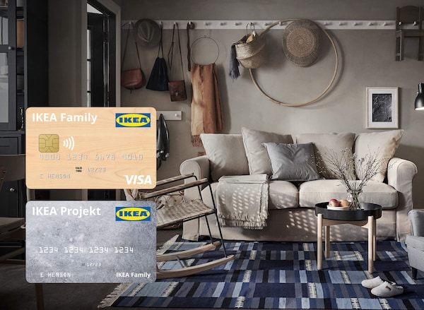 Living room image with a link to the IKEA credit card page