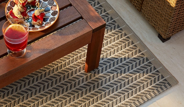 LOBBÄK In/outdoor rug, beige