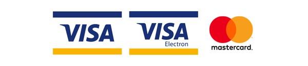 Loga platebních karet, které lze využít - VISA, VISA Electron, Mastercard.