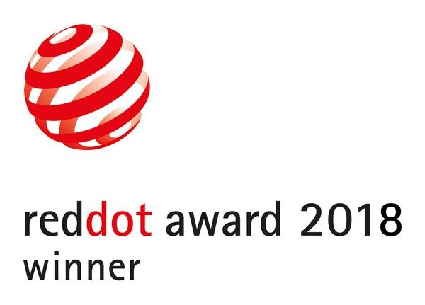 Logo a forma di sfera con strisce rosse del Red Dot Award 2018 che ha assegnato a IKEA tre premi.
