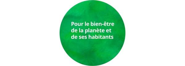 Logo circulaire 'Pour le bien-ètre de la planète et de ses habitants' sur fond vert à l'aquarelle.
