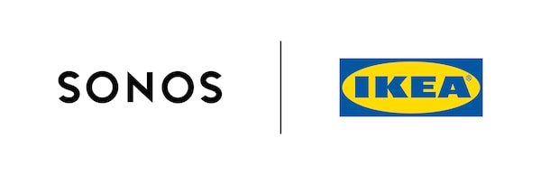 Logótipo com as marcas Sonos e IKEA reunidas, constituído por uma imagem dividida do logótipo da Sonos e do logótipo da IKEA.