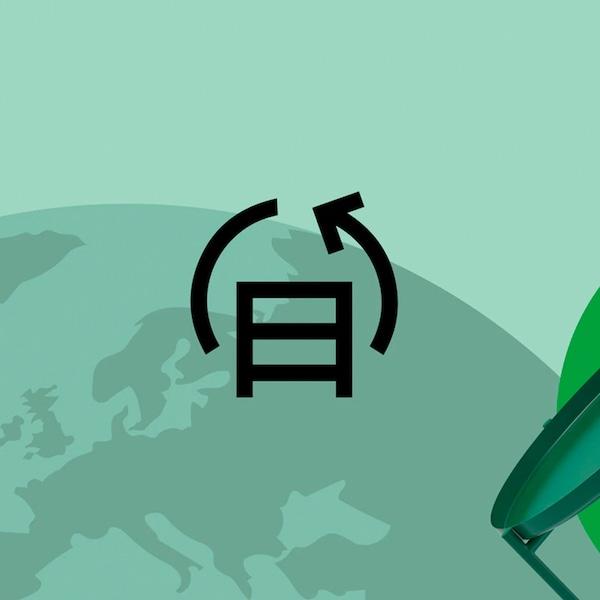 Logotipo de reciclaje de muebles usados