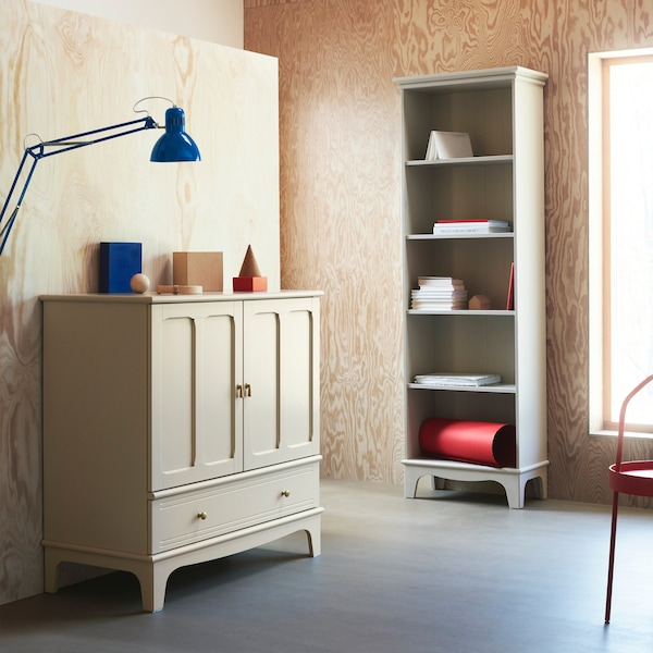 LOMMARP cabinet and bookcase in beige with hand-crafted details for an elegant, traditional style.
