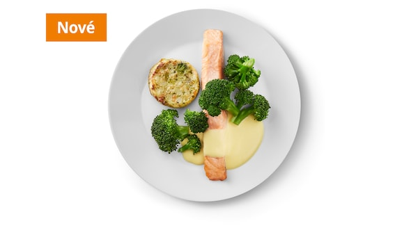 Lososový filet, holandská omáčka, brokolice, zeleninový medailonek.