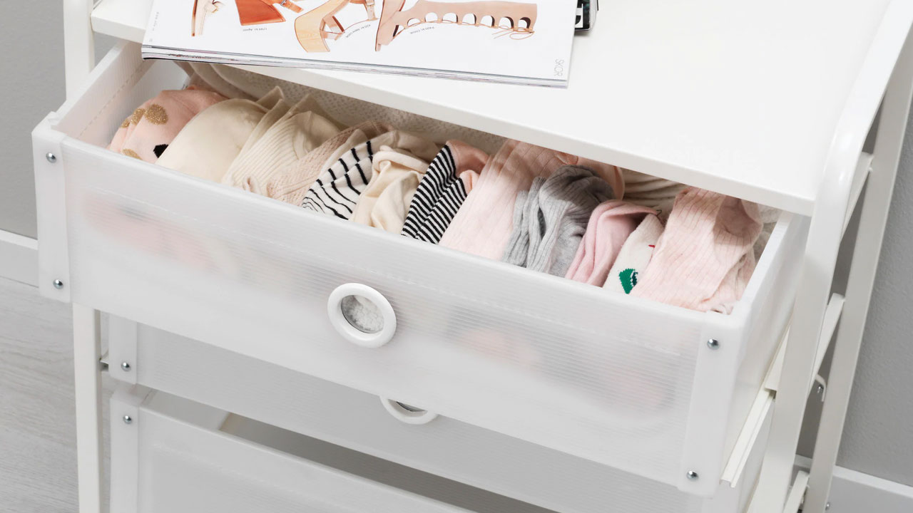 Lote drawer with clothes inside