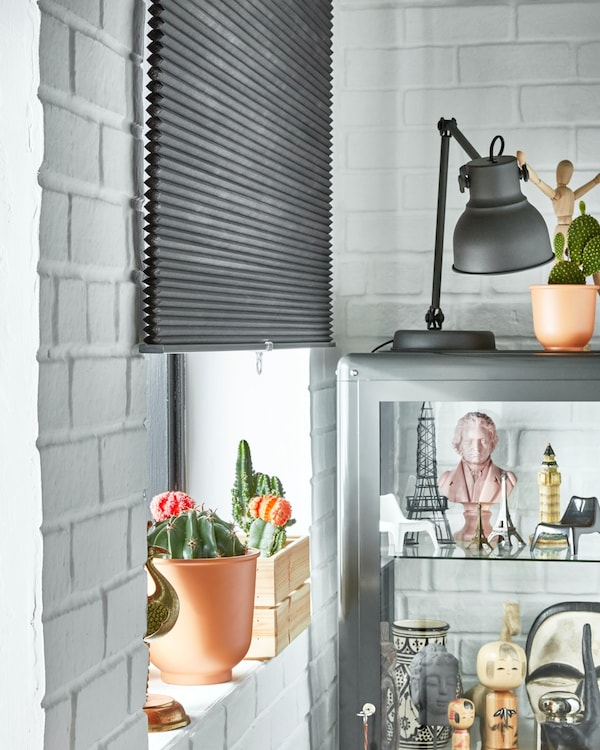 Lower the blinds and install a blackout blind to regulate the temperature