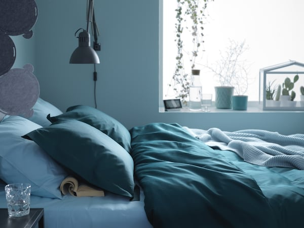 LUKTJASMIN Quilt cover and 2 pillowcases, dark green, 240x220/50x60 cm