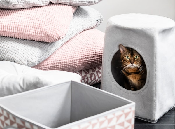 은은한 핑크와 그레이, 패턴이 그려진 쿠션 옆에 있는 그레이 색상의 LURVIG 루르비그 고양이집 안에서 얼룩무늬 고양이가 밖을 내다보고 있는 모습