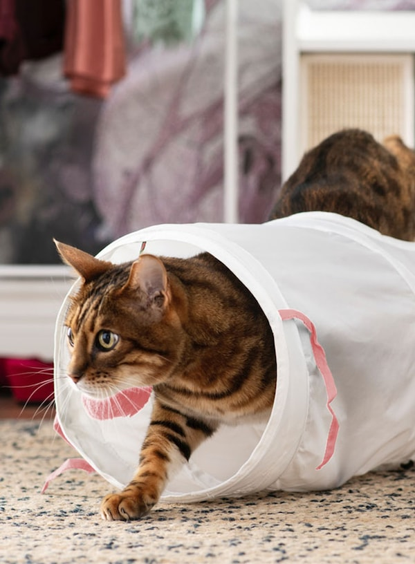 LURVIG Play tunnel for cat, white, pink