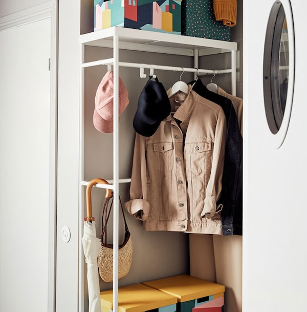 MACKAPÄR Coat rack with shoe storage unit, white with coloured TJENA boxes stacked