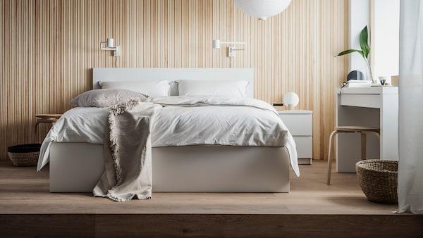 MALM Bed frame, high, w 2 storage boxes, white, Luröy, 150x200 cm