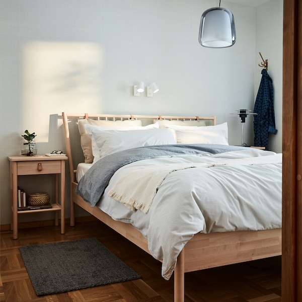 MALM Bed frame, high, w 2 storage boxes, white stained oak veneer, Luröy, 150x200 cm