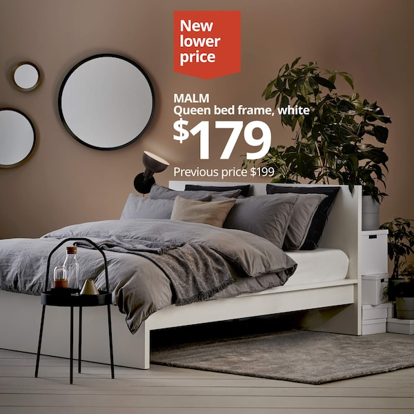 MALM Queen bed frame, white. New lower price: $179. Previous price: $199.