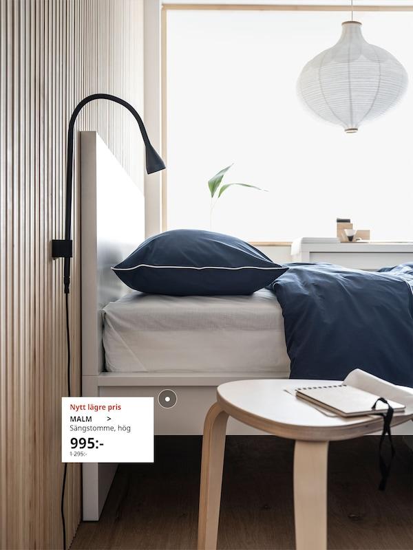 MALM Sängstomme i vitt is storlek 90x200 cm.